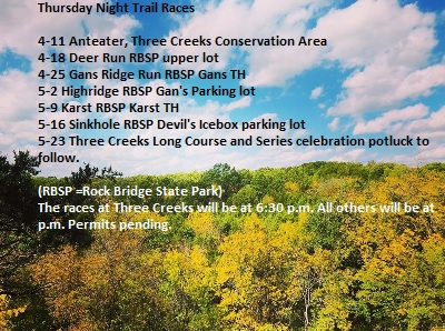 Thursday Night Trail Races - April 11 - May 23