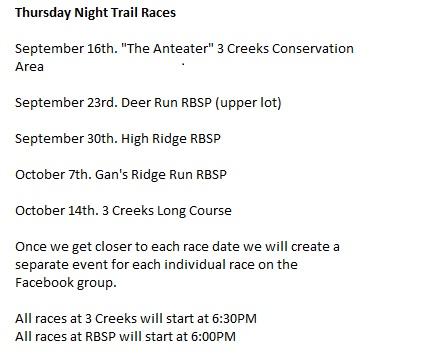 Thursday Night Trail Races